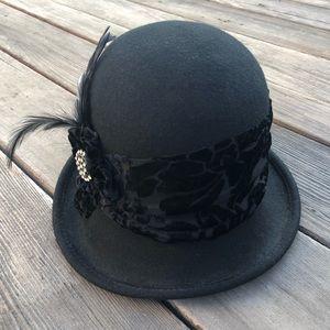 Black Cloche w/ Handmade Accents
